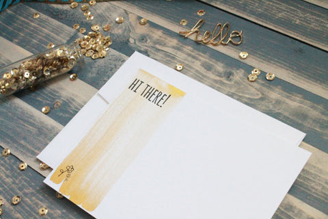 Hi there! - Hand Painted Gold Note Cards
