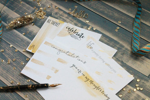 Gold Painted All Occasion Stationery Boxed Set - Hand Painted Cards