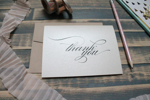 Custom Script Personalized Wedding Thank You Cards | Sasha