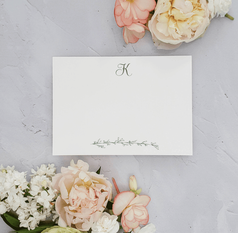 Script Monogram Personalized Stationery Cards Set with Branch - Kaitlin