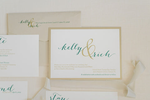 Gold and Green Pocket Wedding Invitation | Formal Wedding Invitation | Simple Wedding Invitation | Modern | Traditional | Kelly & Rich Gold and Green Pocket Wedding Invitation | Formal Wedding Invitation | Simple Wedding Invitation | Modern | Kelly & Rich