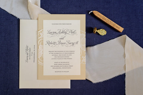Gold lace wedding invitation - Invited by LamaWorks