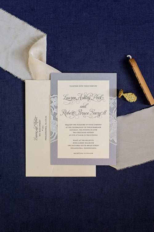 Silver Lace Wedding Invitations | Formal Wedding Invitations | Lace Wedding Invitation | Traditional | Custom Invitations | Lauren & Robert