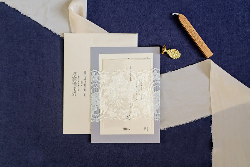 Silver Lace Wedding Invitations | Formal Wedding Invitations | Lace Wedding Invitation | Traditional | Custom Invitations | Invited by LamaWorks