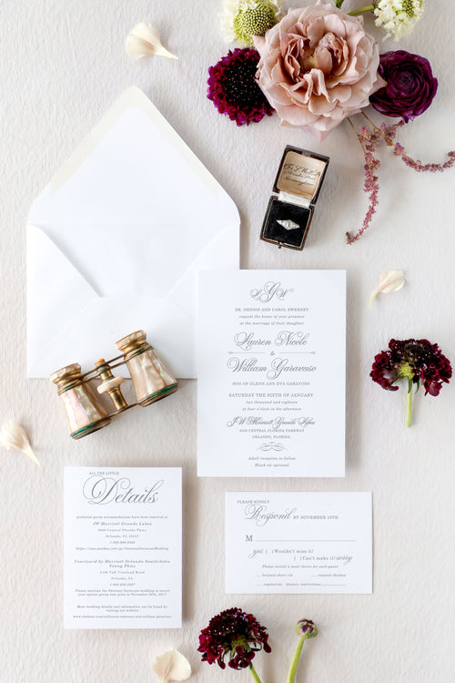 Traditional Monogram Wedding Invitation Suite | Lauren