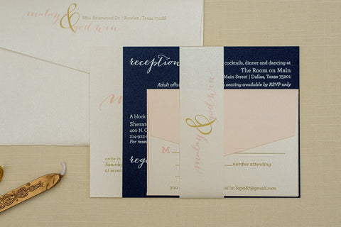 Gold Wedding Invitations | Blush Pink Invitation | Navy Wedding Invitation | Simple Wedding | Formal Wedding Invite Set | Invited by LamaWorks
