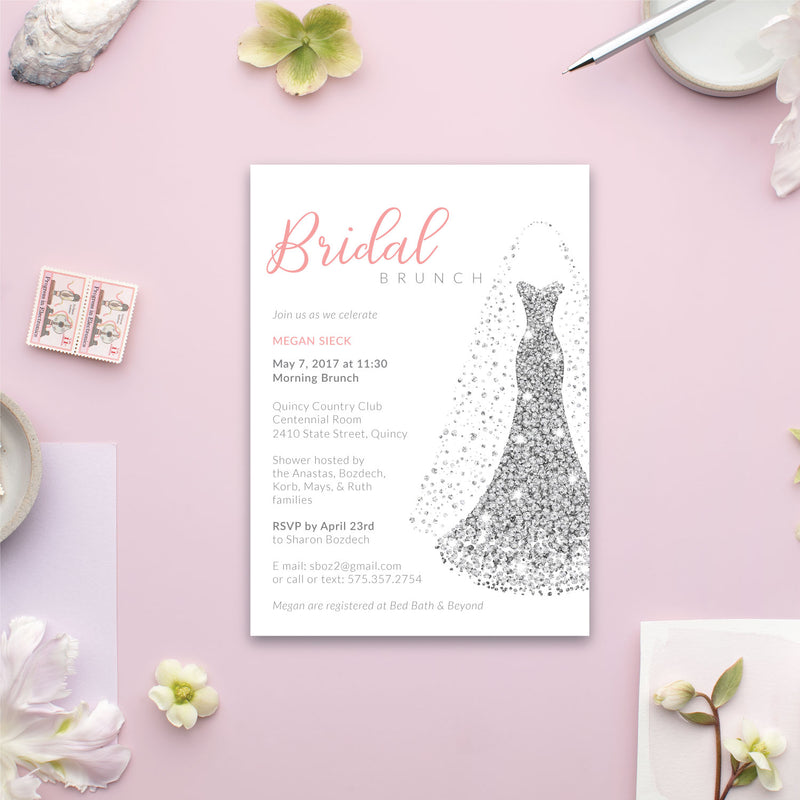 Glitter Dress Bridal Shower Invitation