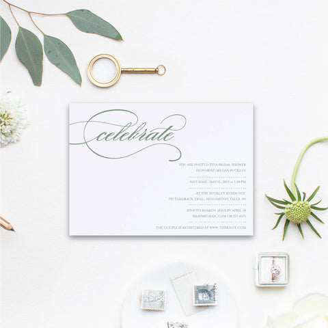 Elegant Custom Bridal Shower Invitation - Let's Celebrate!