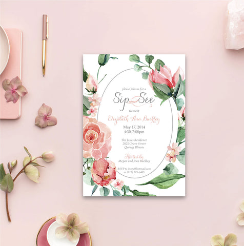Floral Sip and See Baby Shower Invitation - Pink Roses