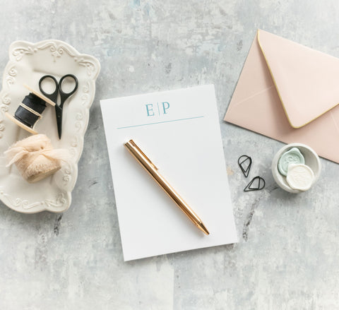 Modern Personalized Monogram Notepad - Sarah