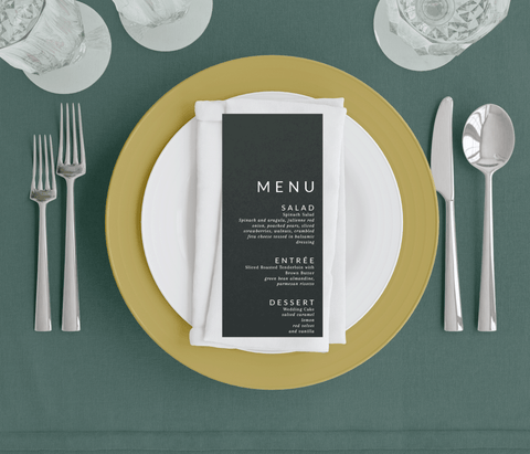 Hunter Green Menus with White Ink - Sarah