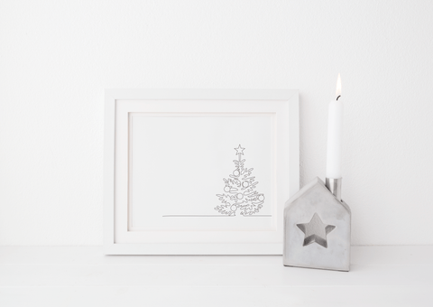 Minimalist Line Drawn Christmas Tree Art Print