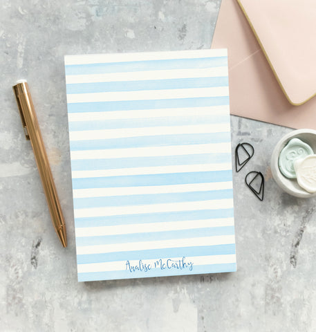 Blue Watercolor Stripes Notepad - Analise