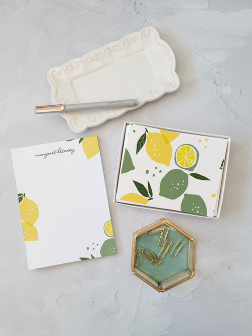 Lemon Gift Set - Notepad and Cards