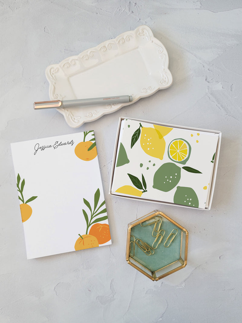 Orange Gift Set - Notepad and Cards