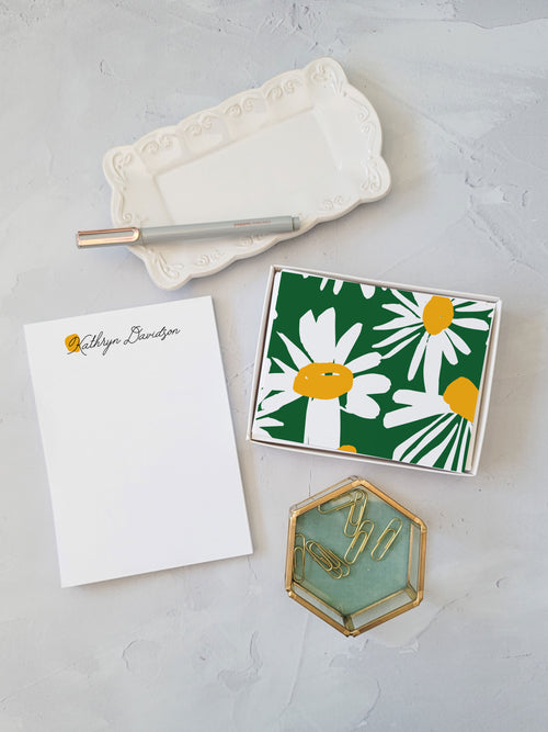 Yellow Dot Gift Set - Notepad and Cards