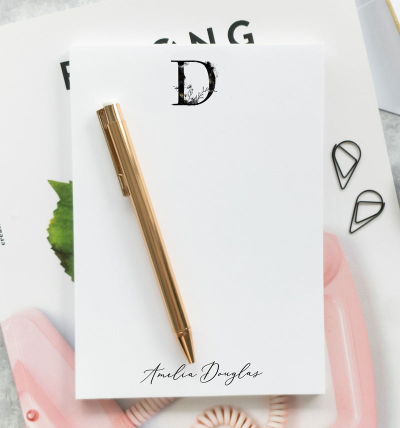 Floral Monogram Notepad - Jennie