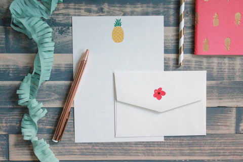 Cute Pineapple Letter Writing Set | Writing Paper | Stationery Gift Set | Gift for Her | Tween Girl Gift | Stocking Stuffer | Snail Mail