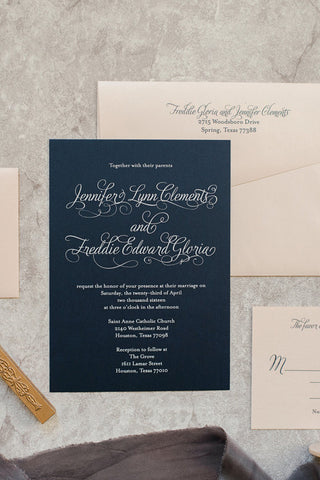 Navy Wedding Invitation | Formal Blush Pink Invitation | Unique Wedding Invitation | Vinitage | Traditional Invitation | Jennifer + Freddie