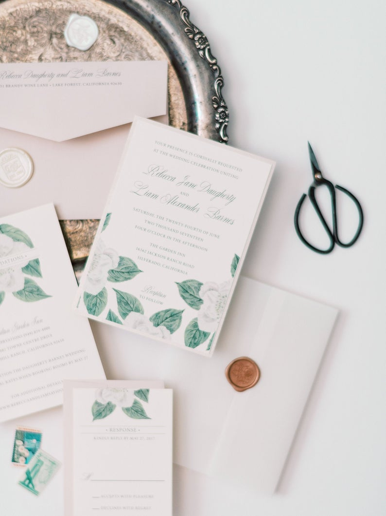 Floral Wedding Invitation Greenery | Invite Suite with Vellum Wrap and Custom Wax Seal Stamp | Rebecca & Liam