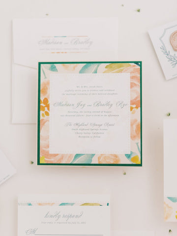 Blush Floral Wedding Invitations - Square, Watercolor Peach, Green, Pocket Invite - Customize your style and colors | Madison & Bradley