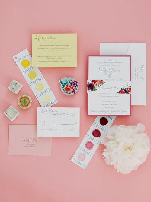 Bright Watercolor Floral Wedding Invitation Suite with Belly Band | Printed Yellow and Pink Unique Custom Wedding Invites | Emily and Joe