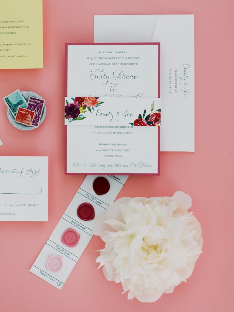 Bright Watercolor Floral Wedding Invitation Suite with Belly Band