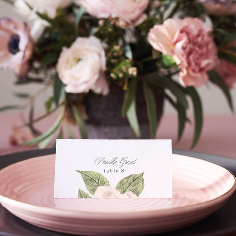 Printed Custom Floral Place Cards | Wedding Name Cards | Table Seating Escort Cards with Customized Flower | Rebecca