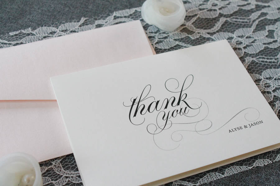 blush pink personalized wedding thank you cards newlywed wedding thank you bridal shower wedding cards pink wedding alyse