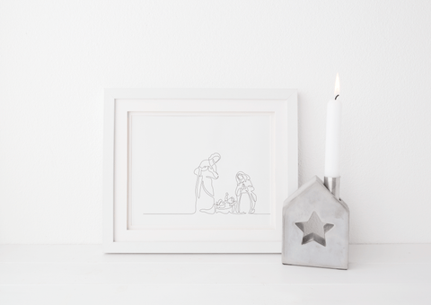 Minimalist Line Drawn Nativity Scene Art Print