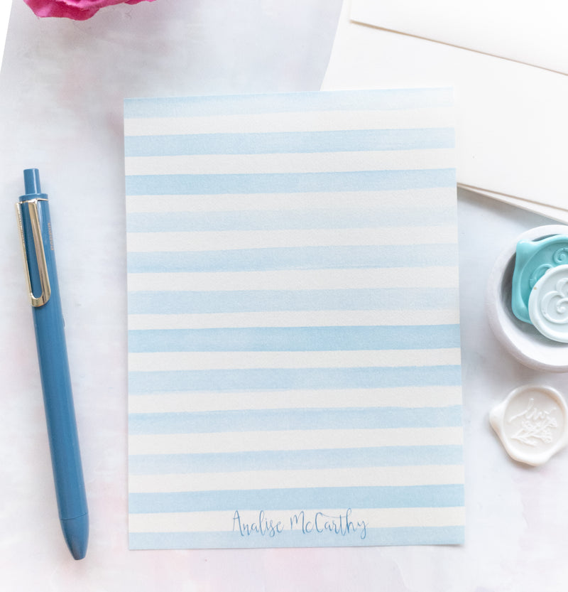 Blue Water Color Stripes Letter Writing Kit