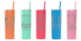 Skinny Cylinder Tumblers with Reusable straw