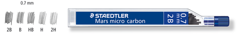 Staedtler Mechanical Pencil Leads 0.7 mm Mars Micro [2B, B, HB, H, 2H] Shades