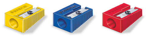 Staedtler Pencil Sharpener Single Hole, Plastic - 3 Colours