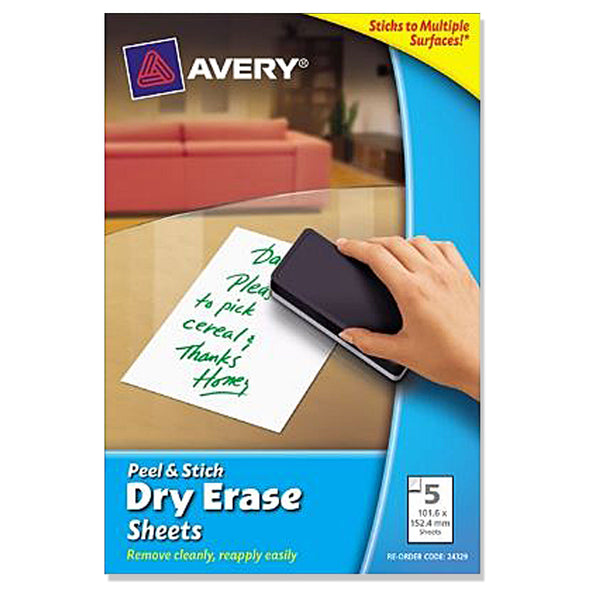 Avery Dry Erase White Sheets 102 x 152 MM 5 Pack - School Depot