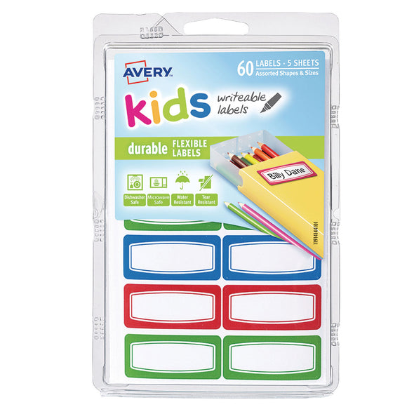 AVERY LABEL KIDS DURABLE GREEN BLUE RED BORDER 44 X 19 MM 60 labels