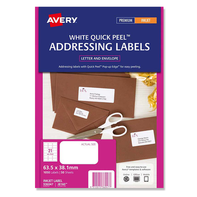 Avery Premium Inkjet Label White J8160-50 635 x 38.1mm 50 Sheets [1050 Labels]