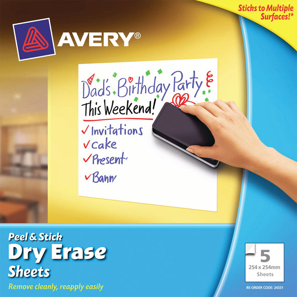 Avery Dry Erase White Sheets 254 x 254 MM - School Depot