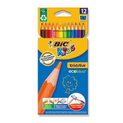 BiC Kids Evolution Colouring Pencils Full Length 12 Pack