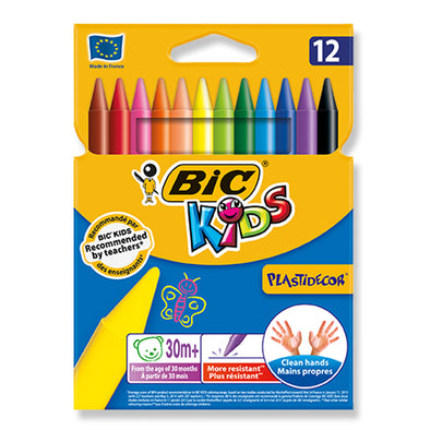 BiC Kids Plastidecor Erasable Plastic Crayons 12 Shades - School Depot NZ