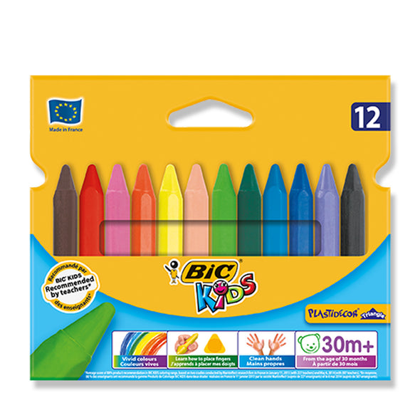 BiC Kids Plastidecor Triangular Plastic Crayons 12 Pack - School Depot NZ