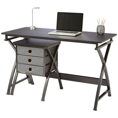 Brenton Office Desk with Filing Unit X-Cross Black - School Depot NZ