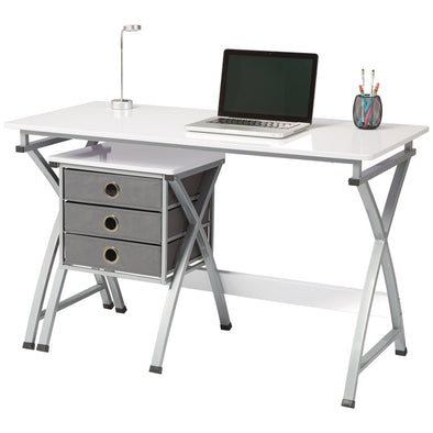 Brenton Office Desk with Filing Unit X-Cross White - School Depot NZ
