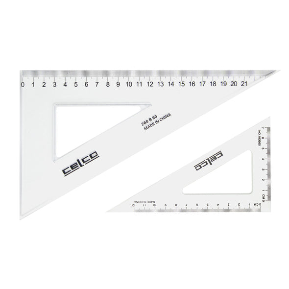Celco 60 Degree Set Squares 21 cm Clear - School Depot