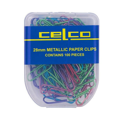 Celco Paper Clips Round Metallic Colours 28mm Pack 100 - School Depot