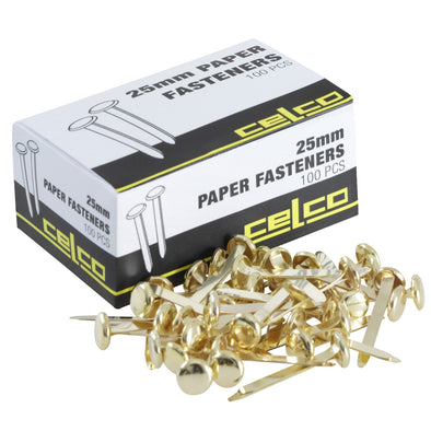 Celco Split Pin Paper Fasteners 25 mm Box of 100 - School Depot
