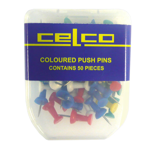 Celco Push Pins Assorted Colours, Pack of 50 - School Depot