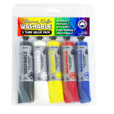 Chroma Kidz Washable Acrylic Paint 5 x 75ml Value Pack