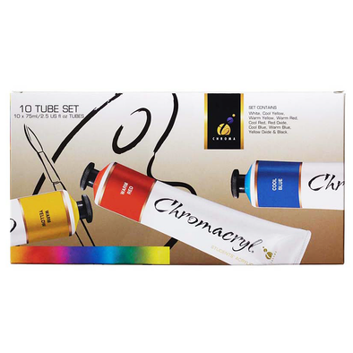Chromacryl Student Acrylic Paint 75ml Assorted Colours Set of 10