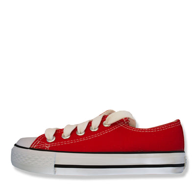 Classic Canvas Zip & Lace School Shoes Red - School Depot NZ